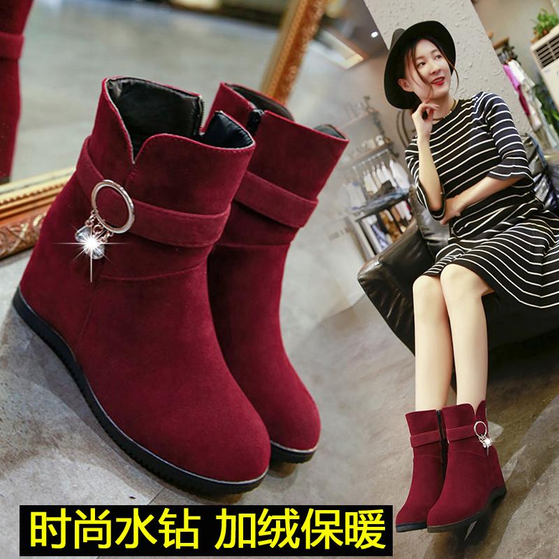 雪地靴女冬水钻2018新款厚底内增高加绒保暖靴子侧拉链短靴女靴