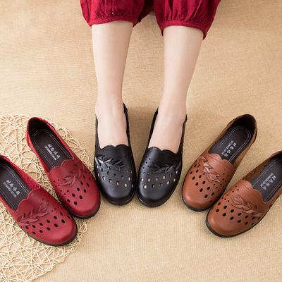 妈妈鞋女凉鞋中老年软底平跟平底洞洞鞋夏季镂空防滑中年妈妈凉鞋