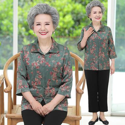 中老年人夏裝女奶奶中袖襯衫套裝60歲70媽媽春裝80太太婆婆上衣服