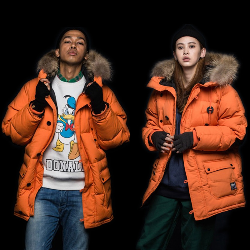 2019 new East Gate Parke military uniform orange men and womens sports thickened medium and long down fashion brand