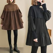 褶皱拼接针织毛衣胖mm大码女装灯笼袖高领中长款遮肚子弹力娃娃衫