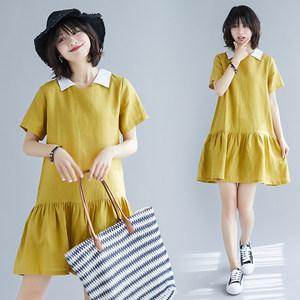 夏季新款文艺大码宽松棉麻拼色打底娃娃衫时尚拼接大摆短袖连衣裙