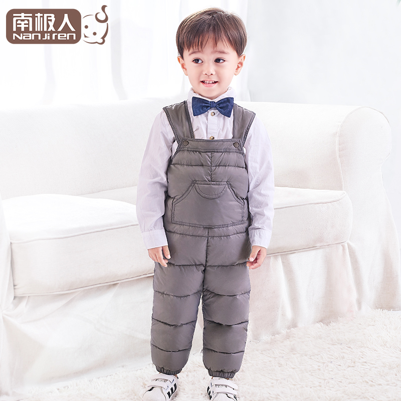 Antarctic childrens down pants white duck down boys and girls wear babys suspenders one piece lightweight baby winter clothes
