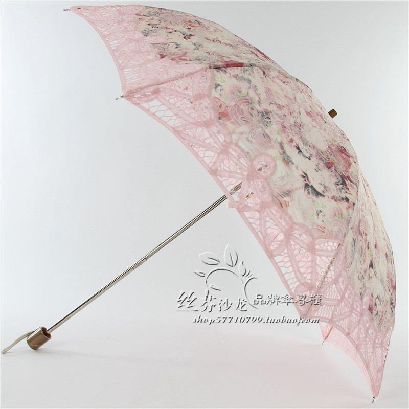 Exquisite classic two fold sun umbrella with lace embroidery