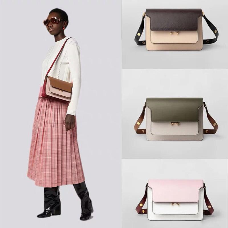 Stars same leather organ bag womens bag 2020 new messenger bag contrast splicing versatile retro shoulder bag