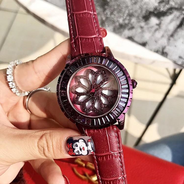 ��莎莉新款腕表�r尚耐用潮流女款�r�磉\�D女�b紫色皮表��女士手表