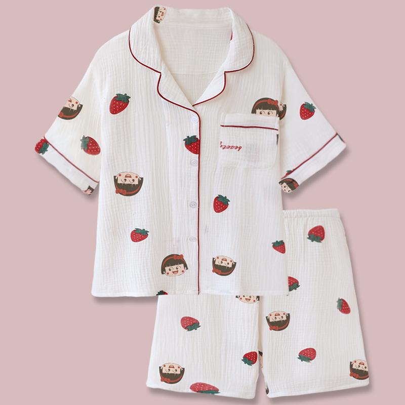 樱桃小丸子!日系甜美卡通可爱双层纯棉纱布睡衣女夏季学生家居服图片