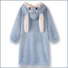 NEW!日系甜美蜜桃小兔子珊瑚绒睡衣女秋冬季加厚绒宽松保暖睡袍图片