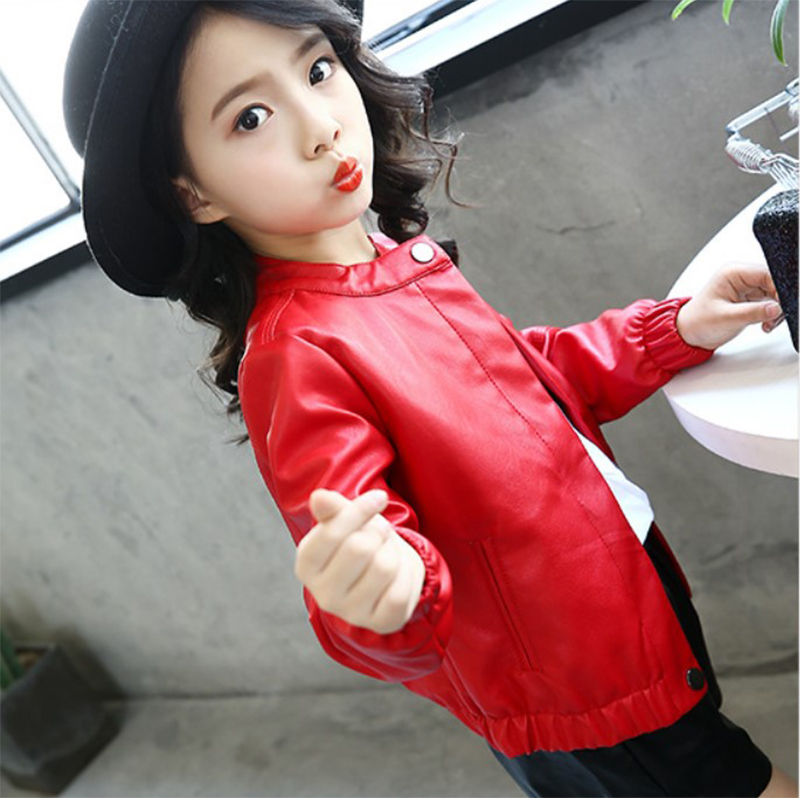 Girls fur coat western style coat childrens leisure leather jacket