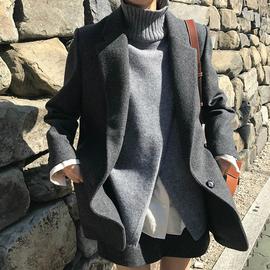 气质灰2020秋冬新款chic毛呢加厚修身西装外套简约短款呢子大衣女
