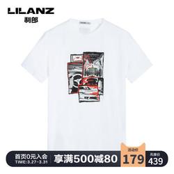 Lilanz/利郎官方男装T恤男短袖夏季黑/白圆领几何印花19XTX618
