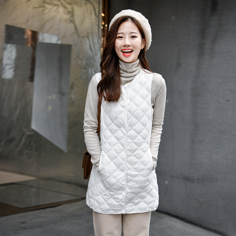 Winter 2020 with coat partner light down jacket liner womens mid long slim waistcoat fashion with vest