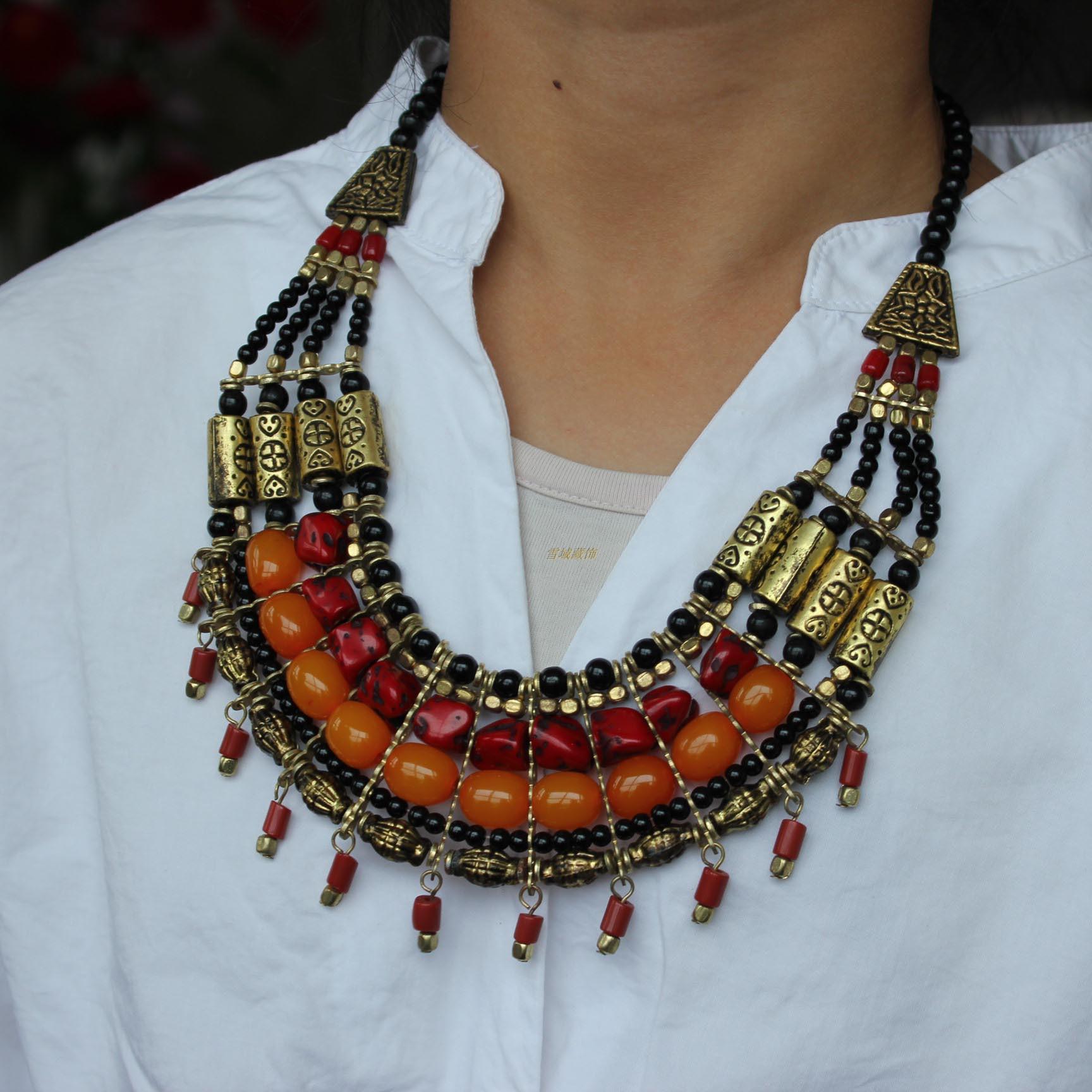 尼泊尔西藏饰品民族藏族锅庄舞蹈舞台活动手工制作女式项链免包邮