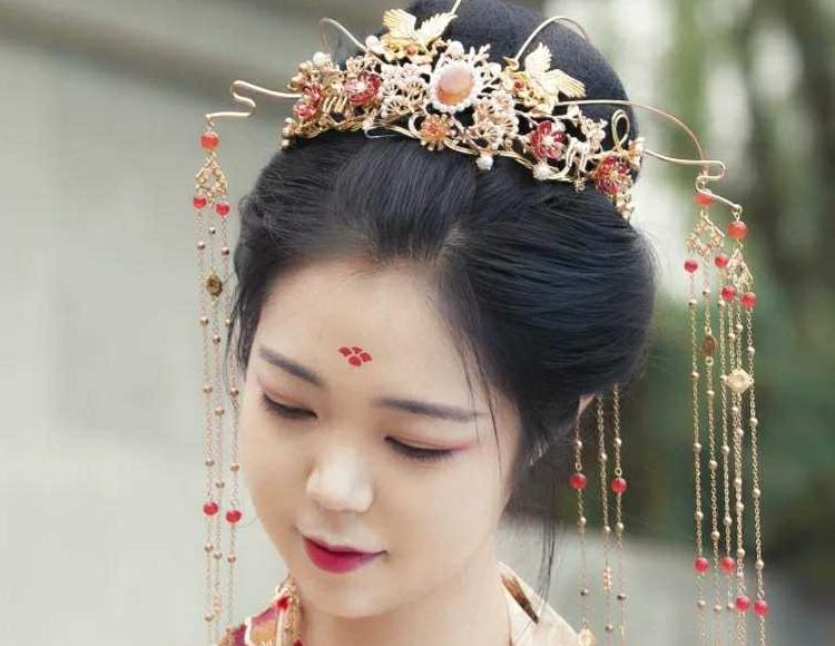 燕月 原创 古风汉服发饰发冠长流苏新娘结婚头冠
