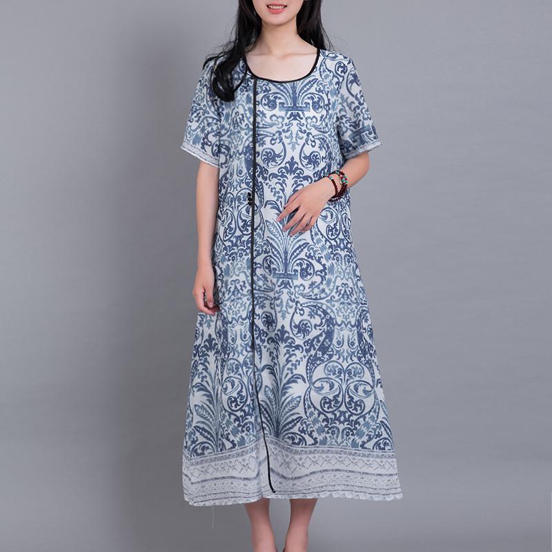衣都格格文艺范印花青花瓷民族风女中长款连衣裙20118夏季新短袖