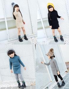 儿童毛衣女韩版秋冬新款半高领纯色百搭纯棉中长款针织衫打底衫