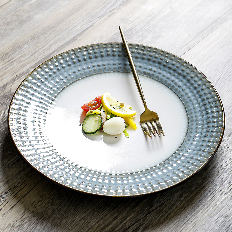 欧式西餐盘牛肉盘子家用大盘子圆菜盘早餐盘网红餐具水果沙拉盘