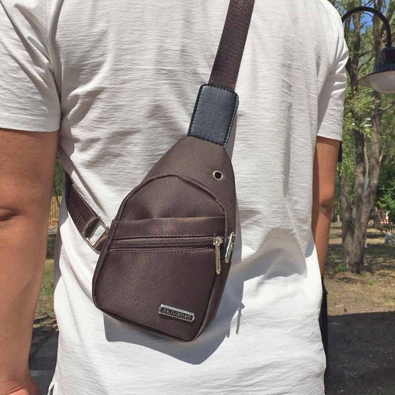 New chest bag mens small bag Single Shoulder Messenger Bag Korean version student leisure chest small bag