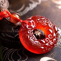 正品天然红玛瑙双貔貅平安扣吊坠男款女款精雕红色石水晶貔貅项坠