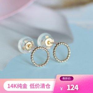 兔兔K金现货◆真人实拍◆韩国14K纯金简约素金点点小圆环耳钉女