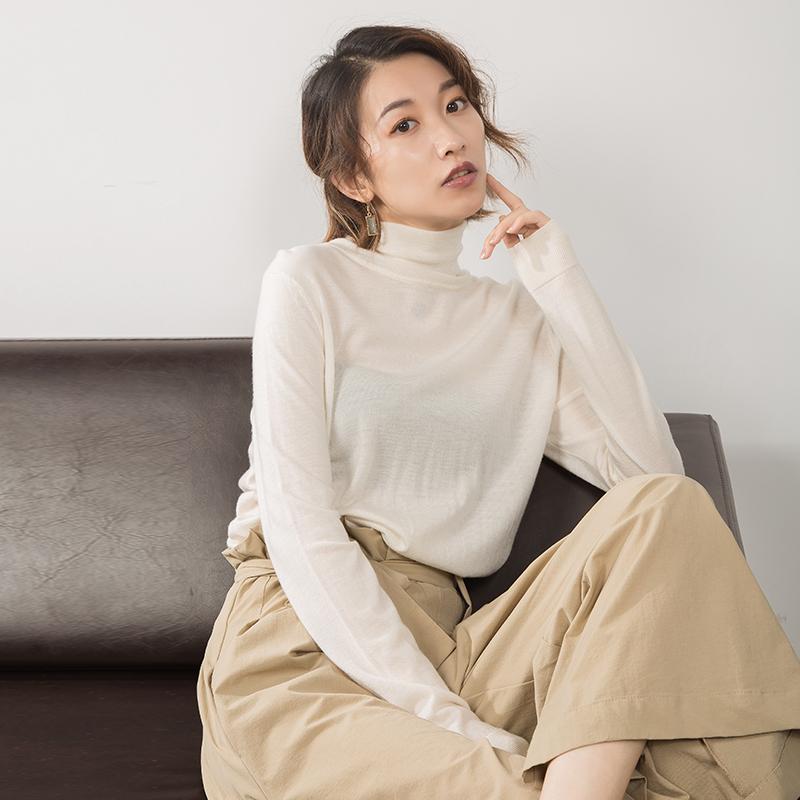 欧美女高领毛衣超薄款堆堆领纯毛针织衫名媛气质美丽奴打底羊毛衫