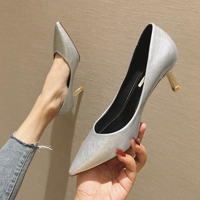 高跟鞋女尖头细跟李溪芮同款银色bigtree性感中跟配裙子的鞋子女