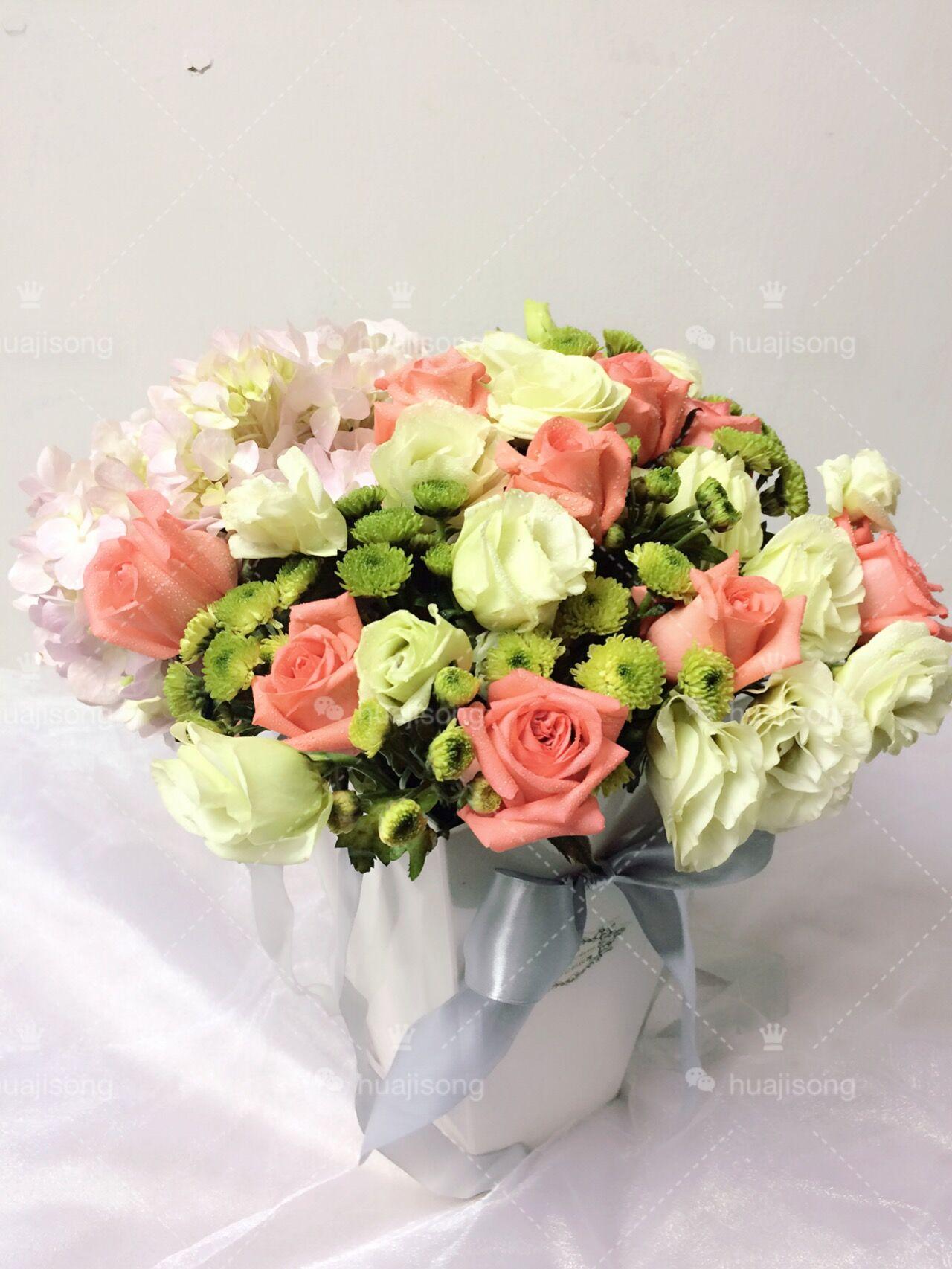 特价粉色玫瑰绣球洋桔梗小雏菊混搭花束韩国进口花桶礼盒西安花店