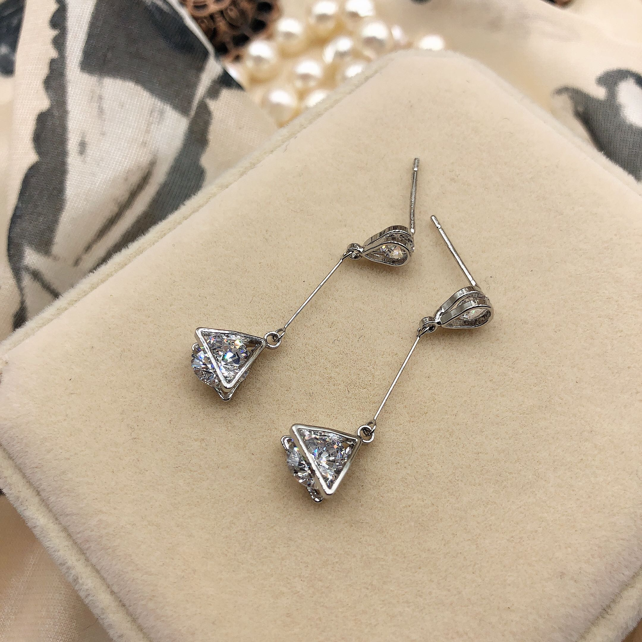S925 silver needle zircon simple geometric line style Tassel Earrings