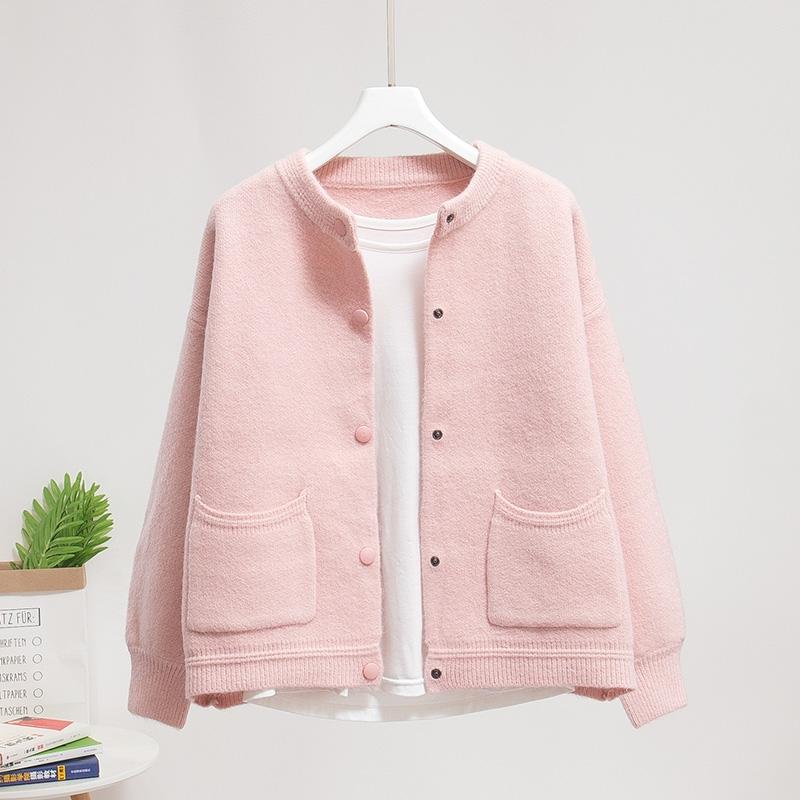 2020秋冬新款小香风粉色针织开衫女加厚毛衣外套小个子棒球服ins