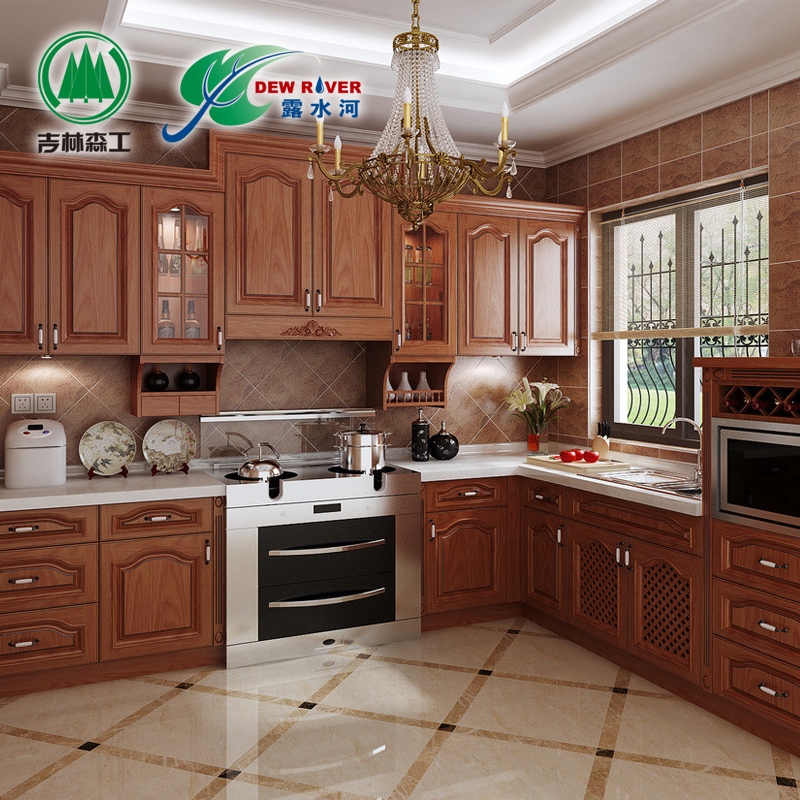 Zhengzhou Lushuihe whole cabinet custom made retro kitchen cabinet American solid wood door customized