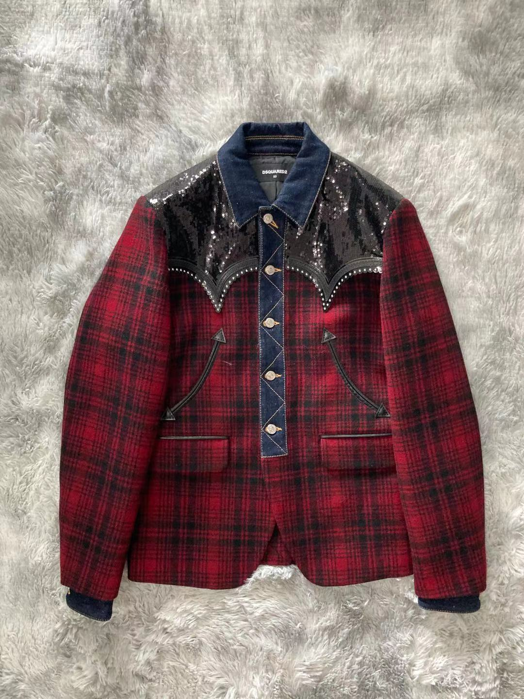 Spot Dsquared2 D2 power show autumn and winter mens Sequin patchwork tweed coat heavy checkered jacket