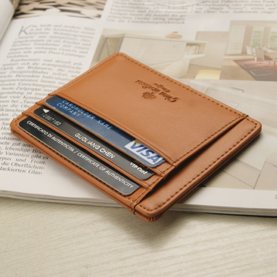 Young drivers license wallet ultra thin short leather case vertical multi-function banknote folder mens Leather Wallet