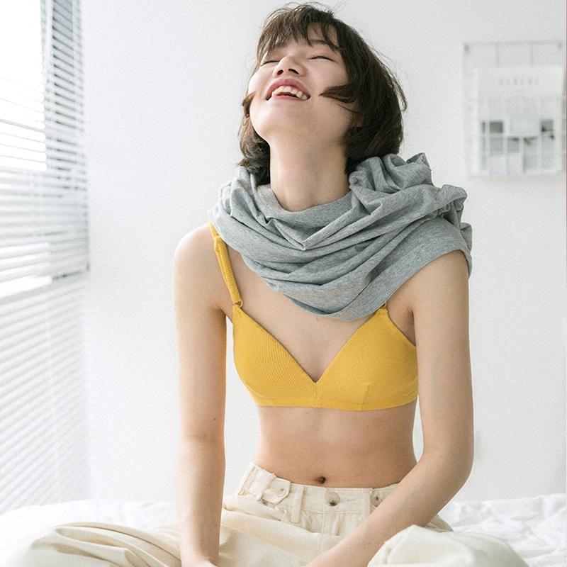靴下物法式平胸三角杯无钢圈内衣女秋冬薄款小胸纯棉透气性感文胸