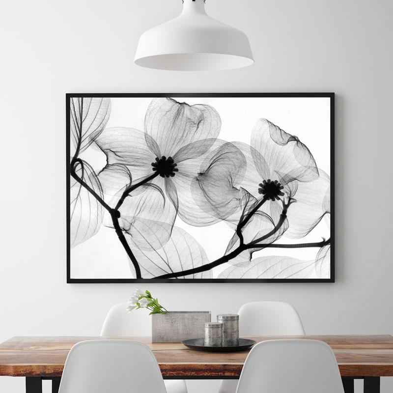 无边大幅面黑白花朵定制酒店挂画