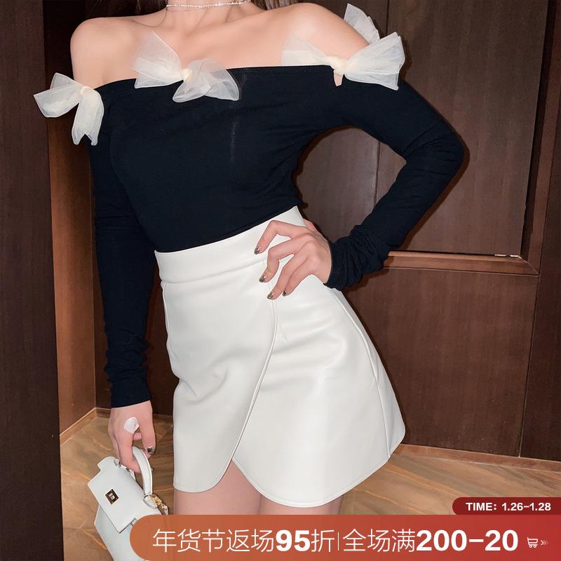 周小熊 皮裙短裙女秋冬2020新款冬天配毛衣a字裙包臀不规则半身裙