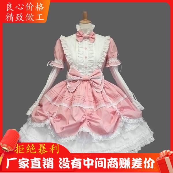 万圣节包邮圣诞Lolita洋装哥特式粉色洛丽塔日常连衣裙cos表演服