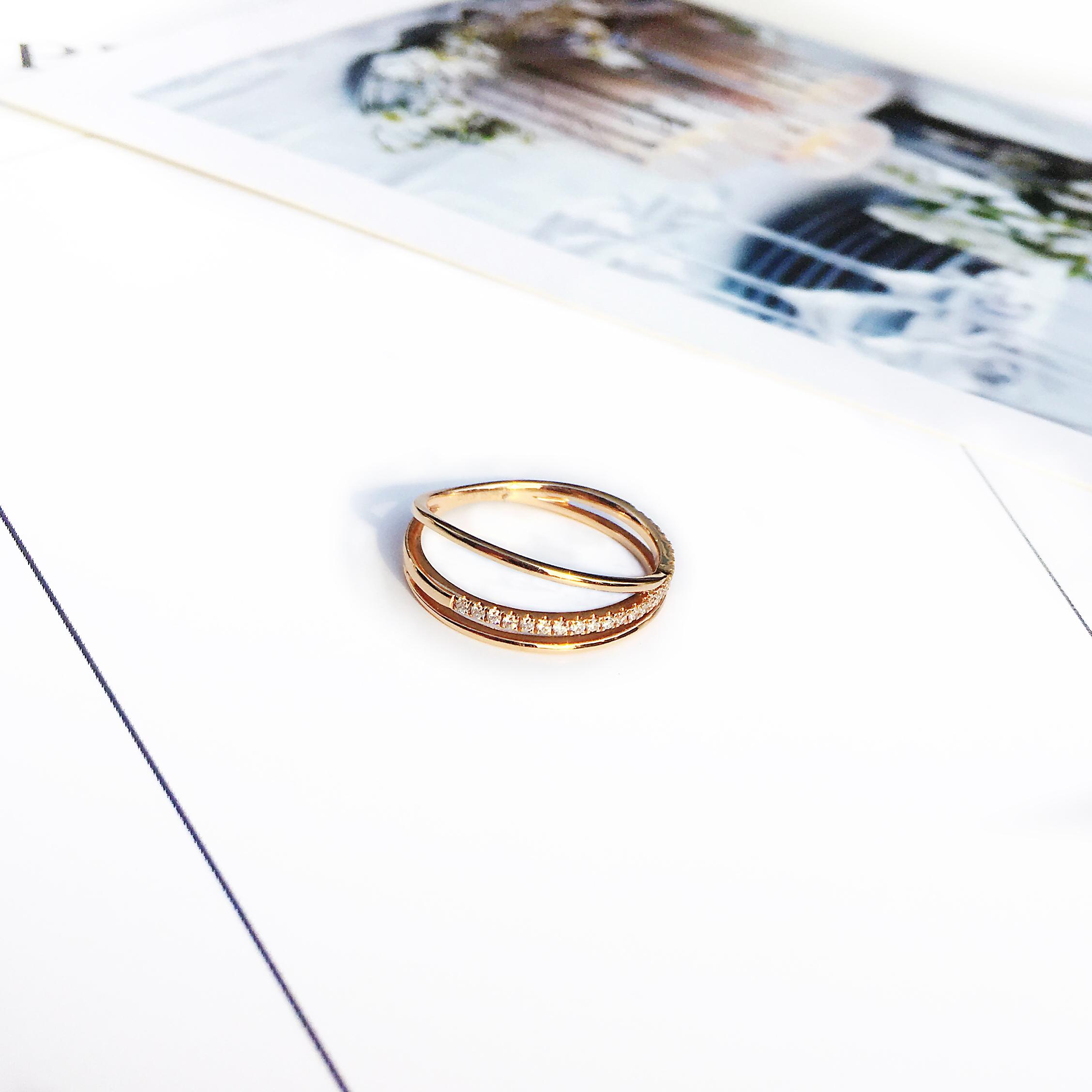 柏克蓝钻石拾光珠宝钻戒女简约18K金玫瑰金戒指结婚求婚定制婚戒