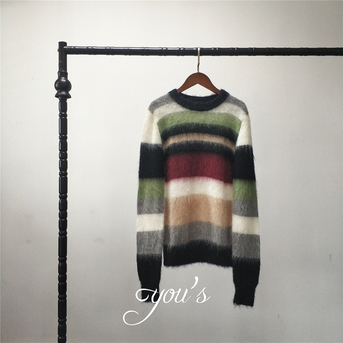 Dujiabubangshan color matching imported Mohair round neck Pullover MS laomajia amandax