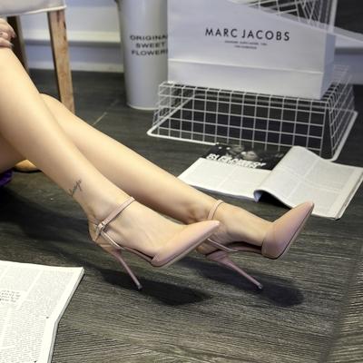 凉鞋女裸色绑带高跟鞋细跟2019新款夏季裸色尖头黑色高跟性感单鞋