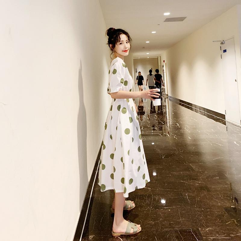 棉质收腰2019夏季新款流行连衣裙159.00元包邮