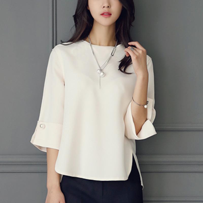 韩版雪纺衫2016夏装新款简约百搭套头宽松显瘦七分袖衬衫女上衣潮