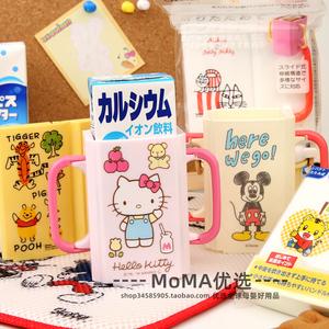 现货日本制skater米奇凯蒂猫饮料杯托带手柄可折叠果汁牛奶辅助盒