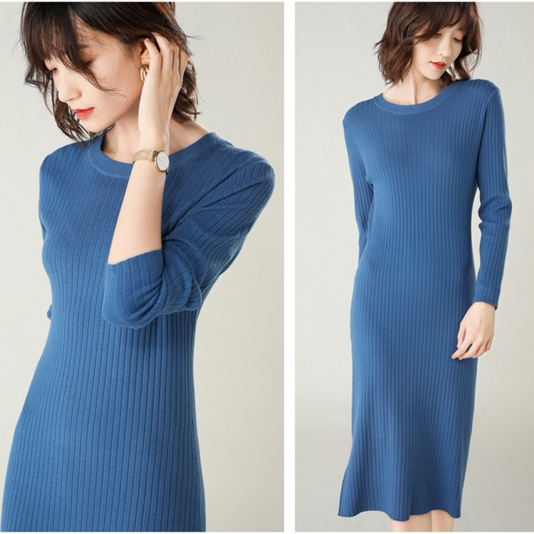 Autumn and winter new womens round neck slim Knit Dress Medium Length Pullover Sweater long sleeve tight bottomed skirt