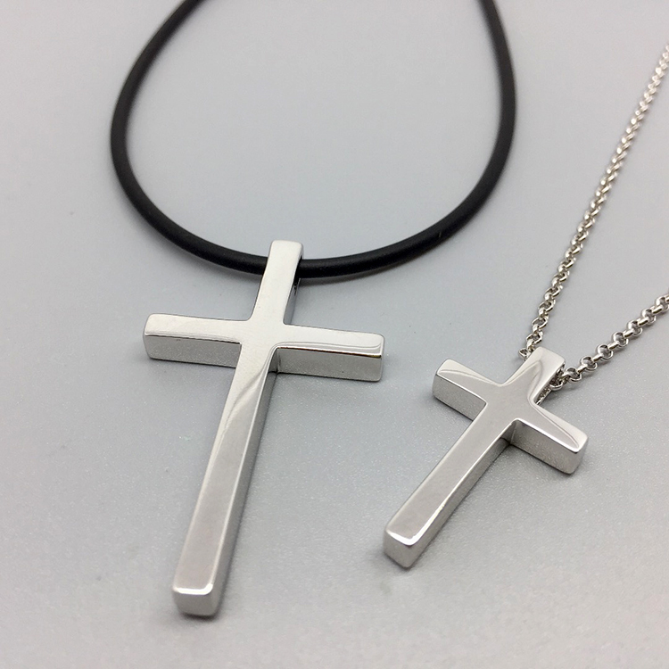 S925 Sterling Silver Cross Necklace man black rope couple a pair of pendants engraved with Jesus Christ female clavicle chain smooth face