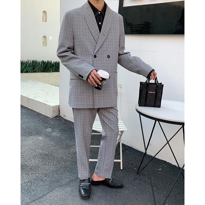 白口阳 网红英伦风格子西装外套男2019秋季格纹宽松休闲衣服套装