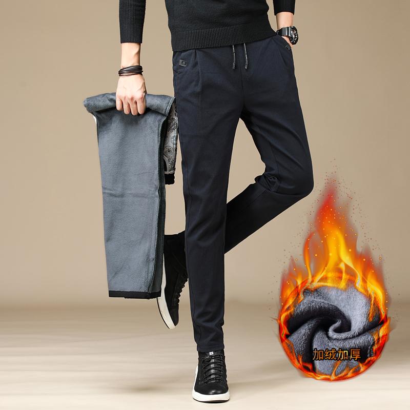 A3A/p55 冬季加绒男裤子加厚运动裤男士加热裤抽绳休闲裤保暖卫裤