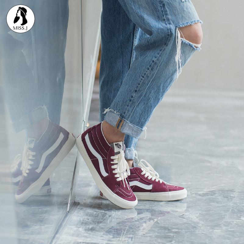 金小姐VANS正品SK8-MID酒红色中帮男女休闲帆布鞋板鞋VN0A3WM324Q图片