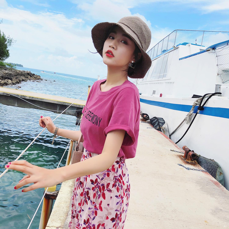 女装夏装2018新款上衣潮 韩版ulzzang宽松百搭字母粉色T恤女短袖