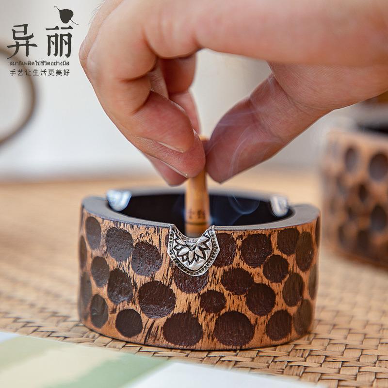 泰国木质复古茶几烟缸实木新古典装饰烟灰缸客厅无盖桌面烟缸摆件