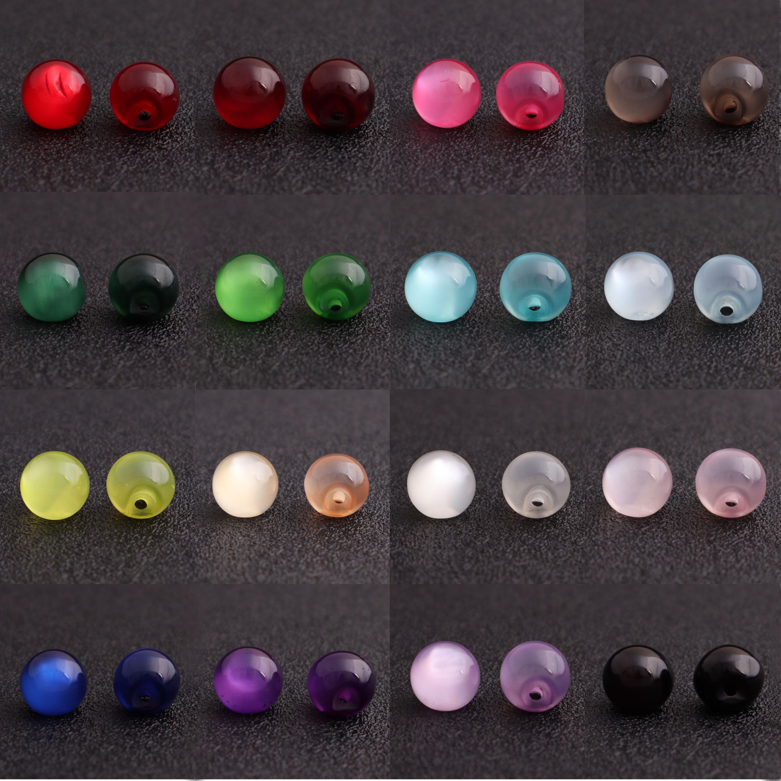 复古仿玉珠光球形多彩色树脂扣子